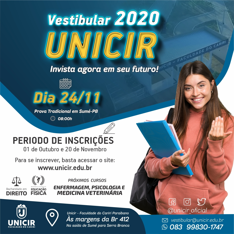 Vestibular Tradicional 2020.1 da Unicir